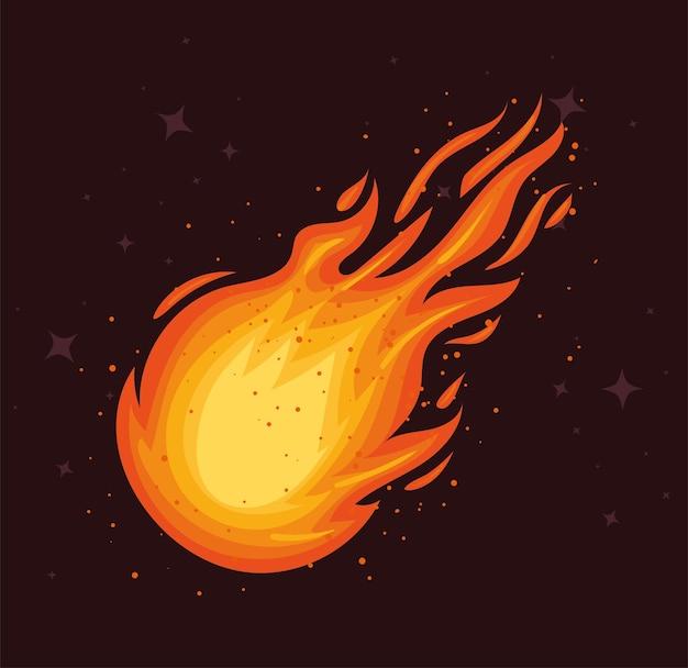 落下する火の玉のイラスト