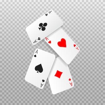 떨어지는 4 개의 에이스 포커 카드. 카드