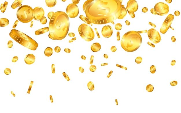 Сверху падает много долларовых золотых монет