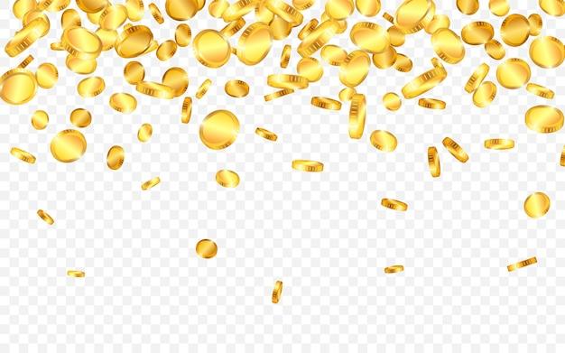 上からたくさんの金貨が落ちる