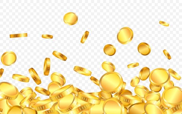 Сверху падает много золотых монет