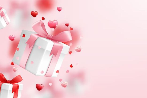 落下するギフトボックス、バレンタインデーを祝う