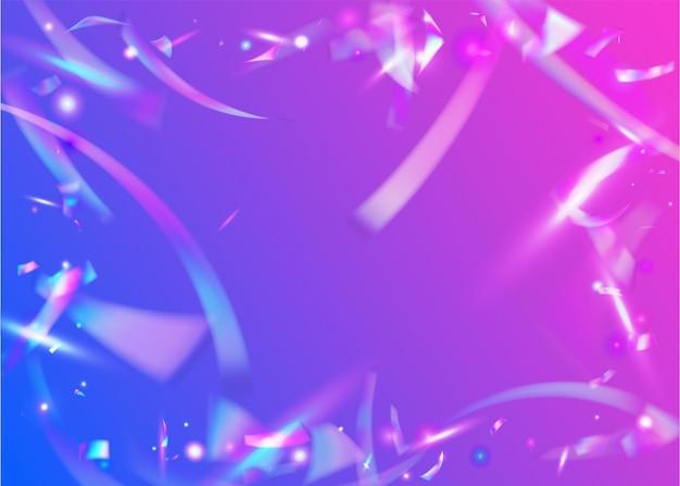Падающие блики. блеск на день рождения. ретро-пароволновый серпантин. праздничная фольга. фиолетовый блестящий фон. современное искусство. дискотека. эффект боке. пурпурные падающие блики