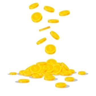 白い背景で隔離の落下の金貨。現金マネーヒープ。商業銀行、フラットスタイルのファイナンスの概念