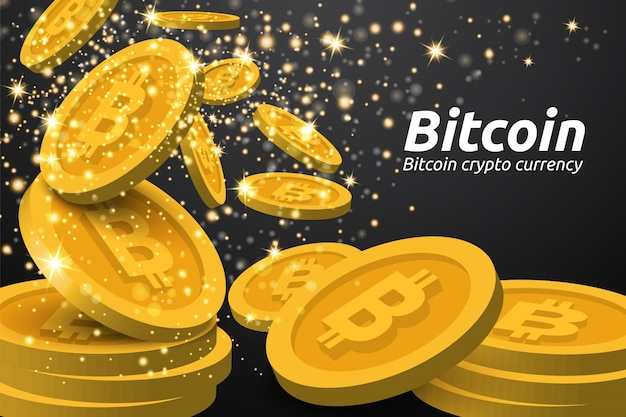 Falling golden bitcoin on dark background