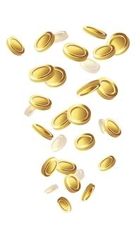 落ちる黄金のコイン。白い背景の上の孤立したアイコンイラスト。