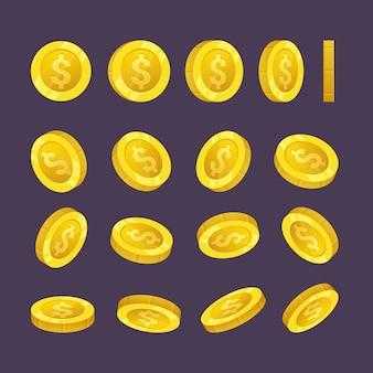Падающие золотые монеты деньги в разных положениях иллюстрации