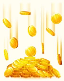 落下する黄金のコイン。黄金のコインから雨が降る。お金の黄金の雨。コインの山