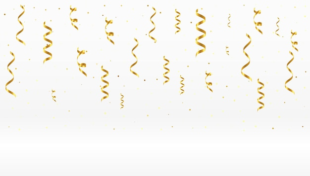 Falling golden confetti ribbons on white background