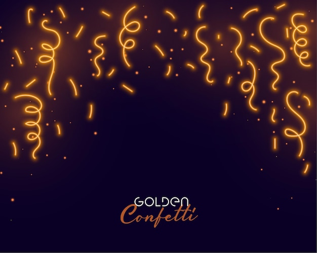 Falling golden confetti with text space