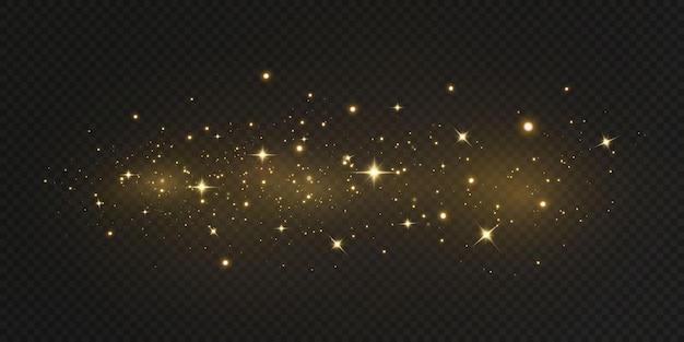 落ちてくる金色の光。魔法の抽象的な金のほこりとまぶしさ。お祭りの背景。抽象的な金色の粒子と黒の背景にキラキラ。