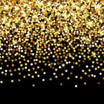 黒の背景に落ちる金色の粒子は、金色の紙吹雪が豊富な高級ファッションのバックドロを散乱させました...