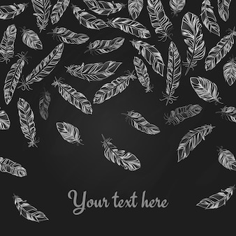 Falling hand drawn delicate white feathers on black with copyspace below for your text in square format