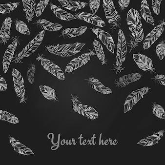 Падающие рисованные нежные белые перья на черном с копией пространства ниже для вашего текста в квадратном формате