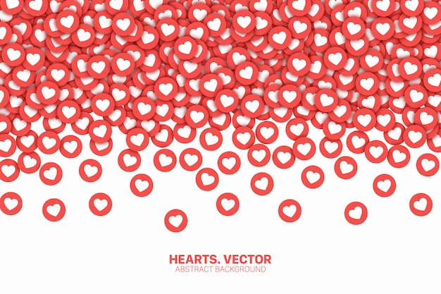 Falling hearts social medias icons conceptual abstract background