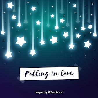 Влюбленный фон со звездами