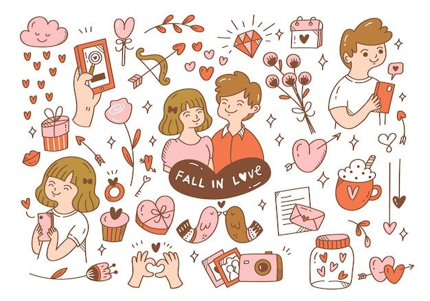 恋に落ちるカップルの落書き