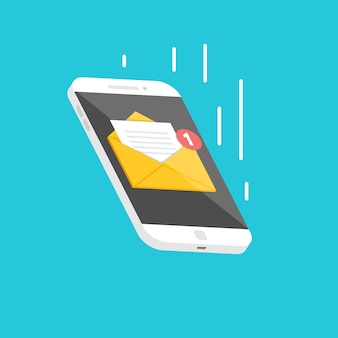 Falling isometric smartphone  with email notification.