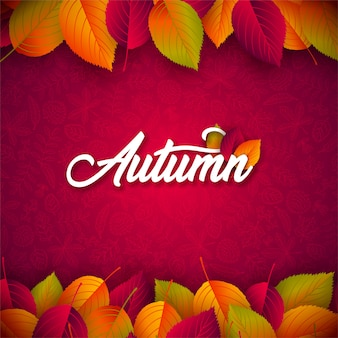 Falling leaves and lettering on red background.
