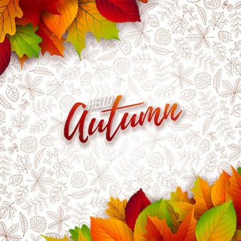 Falling leaves and lettering on white background.