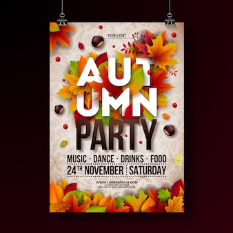 Falling leaves and typography design