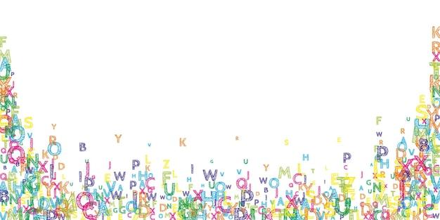 英語の落下文字。ラテンアルファベットの明るい手描きの飛行単語。外国語学習の概念。白い背景の上の学校への並外れたバナー。