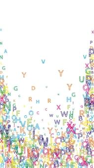 떨어지는 영어 글자. 라틴 알파벳의 밝은 handdrawn 비행 단어. 외국어 연구 개념입니다. 흰색 바탕에 학교 배너를 다시 유혹합니다.