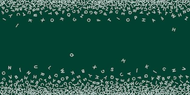 英語の落下文字。ラテンアルファベットのチョークスケッチ飛行単語。外国語学習の概念。黒板の背景に学校のバナーに戻るのに最適です。