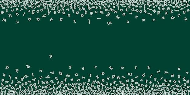 Падающие буквы английского языка. детский мел летящие слова латинского алфавита. концепция изучения иностранных языков. приятный обратно в школу баннер на фоне доски.