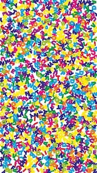 Падающие буквы английского языка. красочные летающие слова латинского алфавита. концепция изучения иностранных языков. восторженный обратно в школу баннер на белом фоне.
