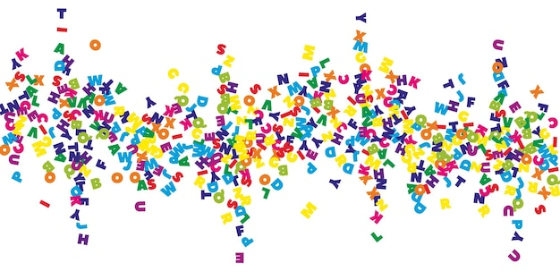 英語の落下文字。ラテンアルファベットのカラフルな空飛ぶ言葉。外国語学習の概念。白い背景の上の学校のバナーに戻るのに最適です。