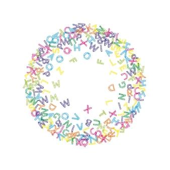 떨어지는 영어 글자. 라틴 알파벳의 다채로운 스케치 비행 단어입니다. 외국어 연구 개념입니다. 흰색 바탕에 학교 배너로 아름 다운 다시입니다.