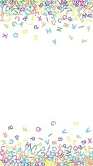 英語の落下文字。ラテンアルファベットのカラフルなスケッチ飛行単語。外国語学習の概念。白い背景の上の学校のバナーに戻って素敵です。