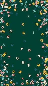 英語の落下文字。ラテンアルファベットのパステル飛行単語。外国語学習の概念。黒板の背景に理想的な新学期のバナー。