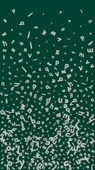 Падающие буквы английского языка. эскиз меловых летающих слов латинского алфавита. концепция изучения иностранных языков. странно обратно в школу баннер на фоне доски.