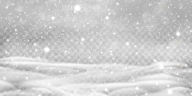 투명 한 배경에 고립 된 snowdrifts와 함께 떨어지는 작은 눈. 눈송이, 눈 배경. 폭설, 다양한 모양과 형태의 눈송이.