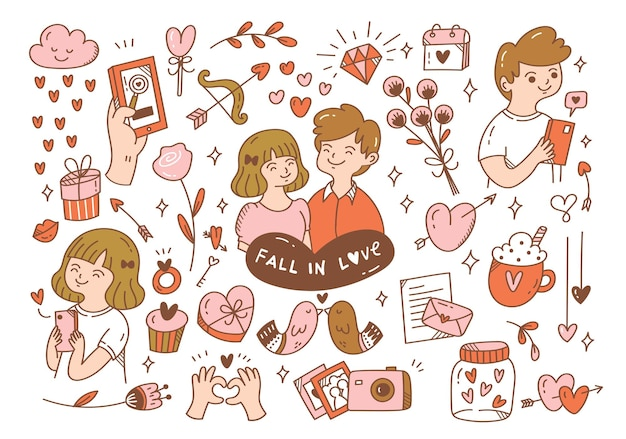 Falling in love couples doodle