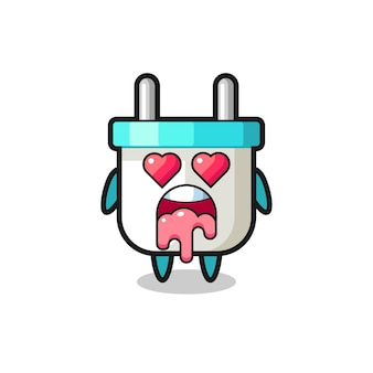 The falling in love expression of a cute electric plug with heart shaped eyes , cute style design for t shirt, sticker, logo element