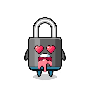 The falling in love expression of a cute padlock with heart shaped eyes , cute style design for t shirt, sticker, logo element