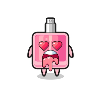 The falling in love expression of a cute perfume with heart shaped eyes , cute style design for t shirt, sticker, logo element