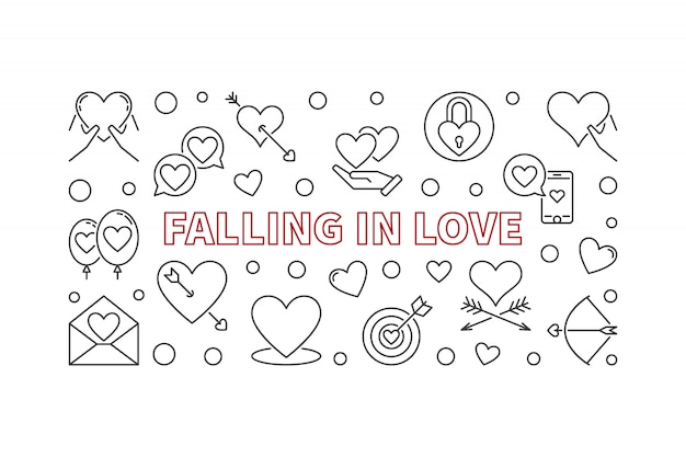 Falling in love  hizontal illustration in thin line style