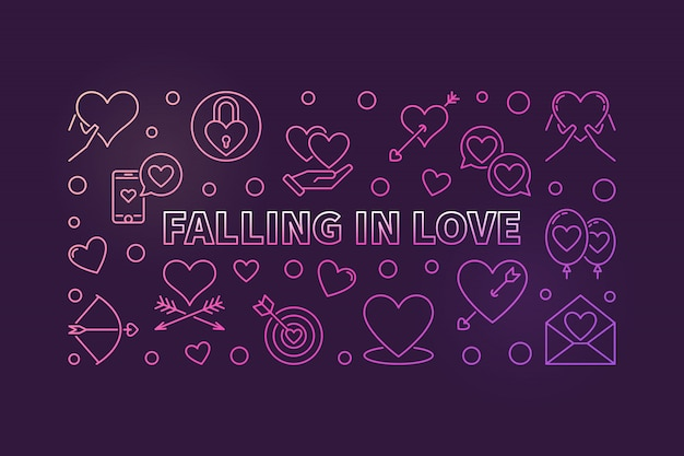 Falling in love modern colored outline illustration