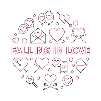 Falling in love round outline icon illustration