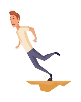 Falling man. falling down people because of slipping, accident. young men dangerous accident. slippery, danger, risk. bad luck, misfortune, fiasco. business failure, company crash concept.