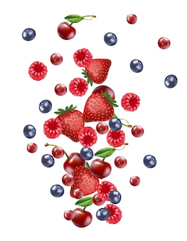 Falling mix berry fruit banner, isolated on white blank background.