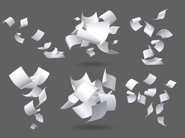 Falling paper sheets. flying papers pages, white sheet documents and blank document page on wind isolated illustration set