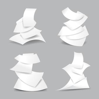 Insieme dell'illustrazione di fogli di carta che cadono