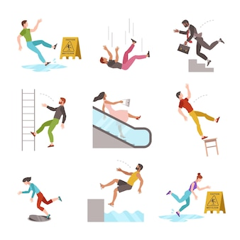 Falling people. fall down stairs, slipping wet staircase or floor, stumbling man injured, dangerous dropping from chair, accident vector flat cartoon isolated characters
