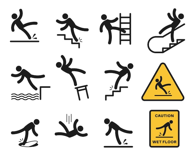 Falling people. simple silhouette unbalanced people injury slipping on wet floor, tripping. drop from altitude, fall down stairs and over edge, hazard, warning sign vector isolated set