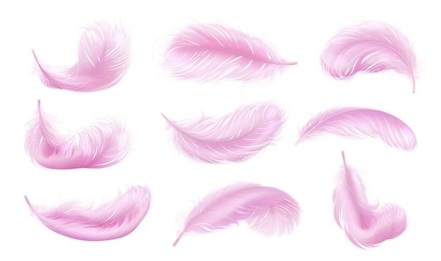 Falling pink fluffy twirled feather set